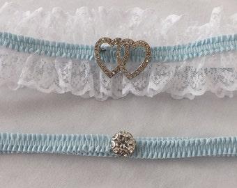 Wedding Garter Set, Vintage Double Heart Brooch, Lace Bridal Garter Set, Bridal Garter, Prom Garter