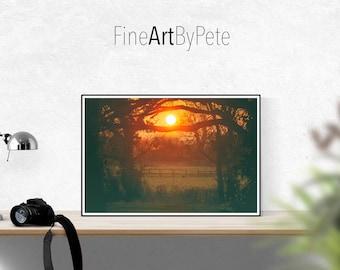 Sunset poster print, peaceful sun posters, wall art photo prints
