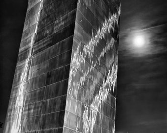 St. Louis Gateway Arch and Full Moon in St. Louis Missouri, St Louis Arch Photo, St Louis Arch Print