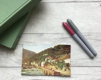 Photochrom postcard of Lynmouth, Devon, Unused vintage postcard, English village river English cottages, unposted postcard etsy uk vintage