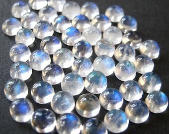 Gemstone Cabochon Rainbow Moonstone 4mm Round LAST FOUR CABS