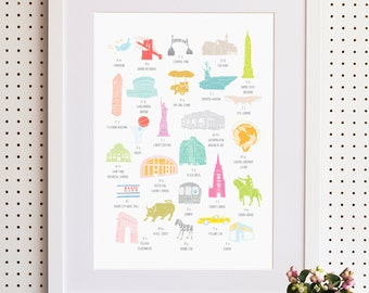 A To Z of New York City Print