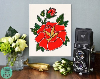 Traditional Flash Red Tattoo Art Rose Watercolor and Ink Painting Print -  Collaboration with Tikas Treasure