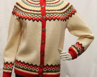 Vintage Hand Knitted 100% Pure Wool Women Multi Color Cardigan Sweater Button Front Shrink Resistant Colourfast  Size S/M, 770089