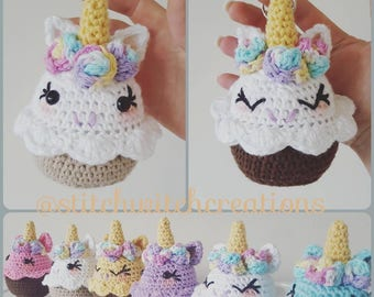 Lavender Unicorn Cupcake Crochet Pattern - Amigurumi PDF Instant Download