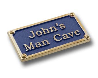 Man Cave Signs Personalized Uk : Nautical gift brass plaque the captains word is law made in
