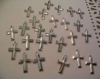 25 Vintage Silver Cross Charms for Jewelry or Craft Supplies