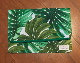 Monstera Fold Over Clutch