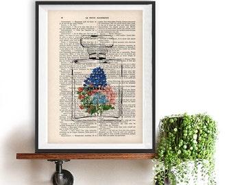 Chanel bottle flower print,dictionary art print,wall art,wall decor,art print, gift for her,wall hangining,Chanel art Coco artwork