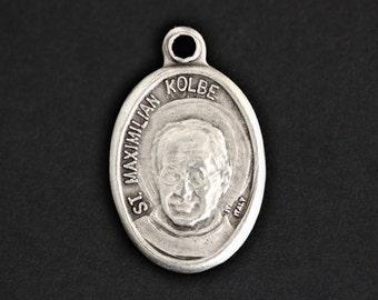 Saint Maximilian Kolbe Medal. Catholic Pendant. St Maximilian Pendant. Saint Kolbe Charm. Catholic Saint Medal. (Qty 1)