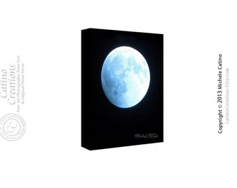 Glowing Moon Canvas, Ice Blue Moon, Full Moon in a Dark Night Sky. Signed Photo Art on Canvas for Him.
