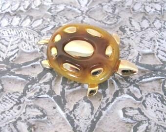 Vintage Turtle Brooch, 1970's Liz Claiborne Gold, Lucite Turtle Brooch, Pin, 1970's, Turtle Brooch, Jewelry