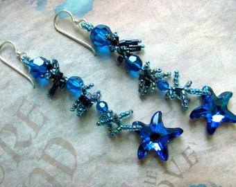 Blue Starfish Earrings, Swarovski Starfish Earrings, Starfish Jewelry, Blue Earrings, Dangle Earrings, Sea Shell Earrings, Resort Earrings