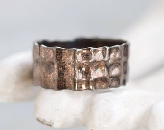 Men's Wedding Band Ring - Hammered Sterling Silver Ring Size 12.5 - Wide Oxidized Band