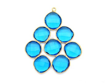 Blue Topaz Gemstone Bezel Component, Gold Plated Connector, Bezel Setting, 24k Gold Plated, Boho Jewelry Supply, GemMartUSA (GPBT-13037)