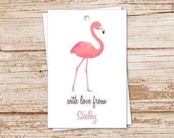 flamingo gift tags . pink flamingo tags . YOU PRINT . flamingo gift tags . personalized . tropical bird . PRINTABLE birthday tags . wedding