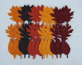 45 Piece Die Cut WOOL BLEND Felt Leaves, Style No. 2, Tattered Leaves, Fall