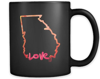 Love Georgia State Flag Map Outline Black 11oz Mug