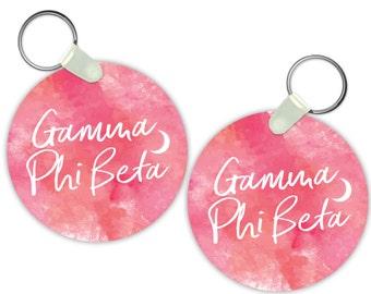 GPB Gamma Phi Beta Watercolor Script Sorority Gift Sorority Keychain