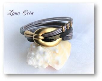 Bracelet leather Camouflage effect and mauve, bronze zamak hook clasp