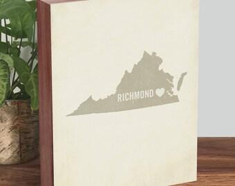 Richmond VA Art, Virginia Map - Virginia is for lovers - Richmond Map - Wood Block Art Print