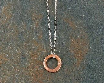 Tiny Copper and Sterling Eternity Circle Necklace Everyday Necklace Dainty Jewelry Tiny Necklace Geometric Necklace Modern Necklace