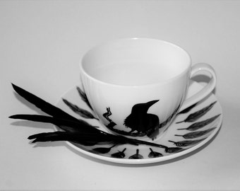 Raven  Cup & Saucer Personalised Cappuccino Cup and Saucer Hand Painted large 12oz personalised teacup Raven gift Crow gift