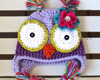 Girl Owl Hat, Owl Hat, Baby Owl Hat, Kids Hat, Children Hat, Purple Hat,  Halloween Hat, Photo Prop