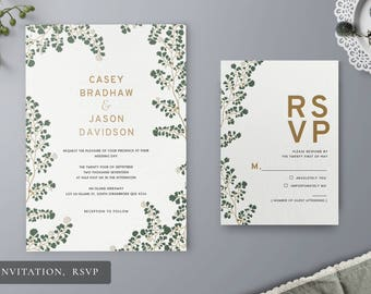 Yours Only Wedding Stationery Set - Invitation, RSVP, Thank You Card, Save the Date, Wishing Well - Letterpress, Floral, Boho Chic