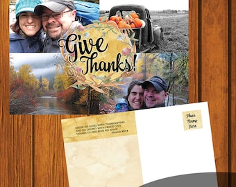 Give Thanks Post Card / Personalized Thanksgiving Postcard / 6x4 Postcard / DIY Postcard / Custom Postcard / Digital File / Fall / Autumn