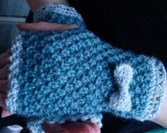 Knitted and crocheted fingerless gloves with bow
