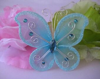 """3"""" Blue Nylon Butterflies for Wedding Decor, Flower Arrangement, Table Scatters, Baptism Favors, Christening Favors, 12 pieces"""