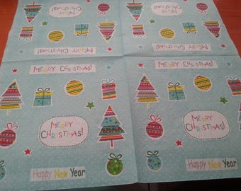 Christmas themed paper napkin