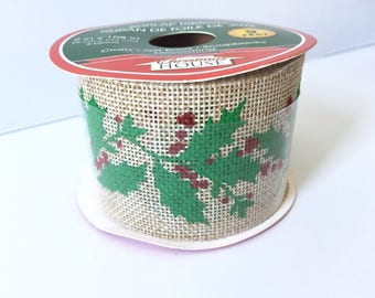 Natural Burlap Decorative Wired Ribbon with Mistletoe 9 Feet Long and 2 Inches Width