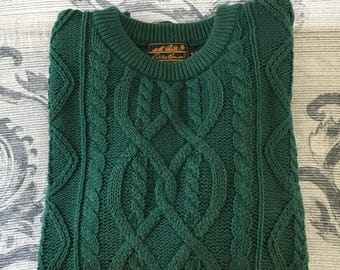 Vintage 1990's Mens Green Eddie Bauer Sweater