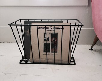 Vintage 1950s Iron Magazine LP Record Holder Rack Mid Century Modern