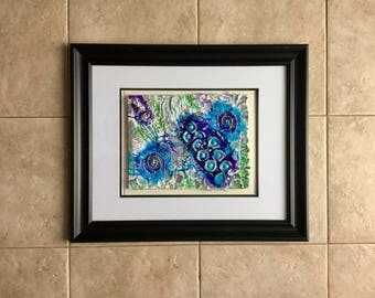 Mixed media textured shabby chic abstract purple, blue and green acrylic painting