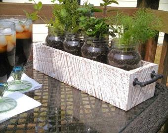 Rustic Mason Jar Herb Garden Planter,Planter Box,Reclaimed Wood Planter,Mason  Jar