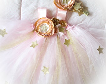 Gorgeous Light Pink Gold Tutu Dress Twinkle Twinkle Little Star Dress, Flower Tutu Dress for Baby Girl 6-18 Months old First Birthday