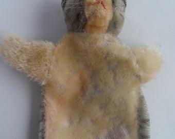 Steiff cat hand puppet button stuffed animal Germany 2635