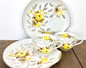 Vintage Yellow Rose Snack Set - Set of 2 Luncheon Plates and Cups, Japanese China, Scallop Shell Shaped Plates and Tea Cups, Bone China