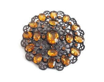 "Art Deco Citrine Glass Filigree Brooch - Silver Tone Metal, Cluster Brooch, Art Deco Jewelry, Large Brooch, 2"" Wide"