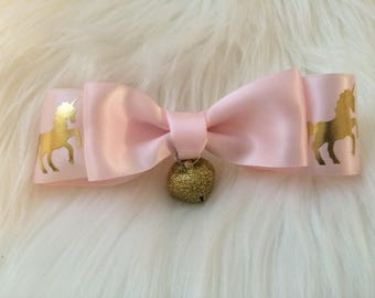 Strawberry Unicorn Pink & Gold Giant Hair Bow Clip