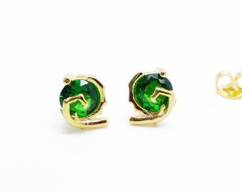 Kokiri emerald stud earrings, silver plated with 24k gold