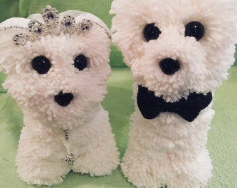 His and Hers white pom pom handmade wedding dogs
