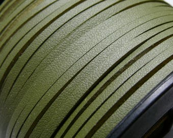 2 m Green Khaki PG001508 quality leather suede cord