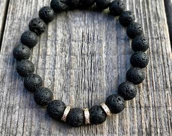 Lava Bead Bracelet, Lava Rock Bracelet, Lava Rock, Gemstone Bracelet, Om Bracelet, Chakra Stones, Mala Bracelet Men, Lava Stone