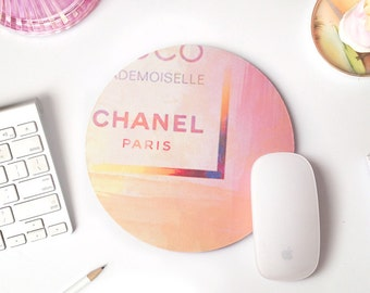 Pink Mousepad | Coco Chanel Decor | Mouse Pad Round | Mouse Pad Gold | Girly Mouse Pad | Modern Mouse Pads | Chanel Paris | Abstract Art