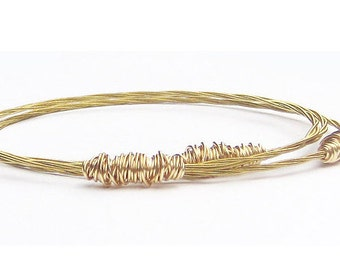 Gold Bangle Bracelets // Set of 3 Bracelets // Guitar String Jewelry // Eco-Friendly Gift For Musician // Stacking Bangle Bracelets // Gift