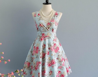 Vintage prom dress blue bridesmaid dress short floral bridesmaid dress 50's party dress tea dress blue floral bridesmaid dress sundress
